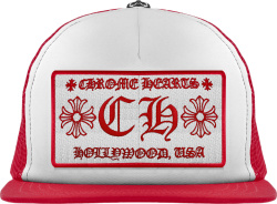 Chrome Hearts Red And White Ch Trucker Hat