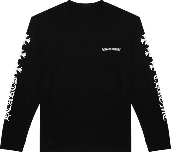Chrome Hearts Sleeve Cross Print Black T Shirt