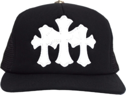 Chrome Hearts Three Cross Black Trucker Hat