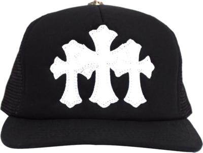 Chrome Hearts Three Cross Black Trucker Hat