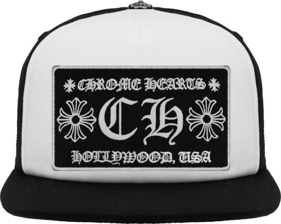 Chrome Hearts White And Black Ch Hollywood Trucker Hat