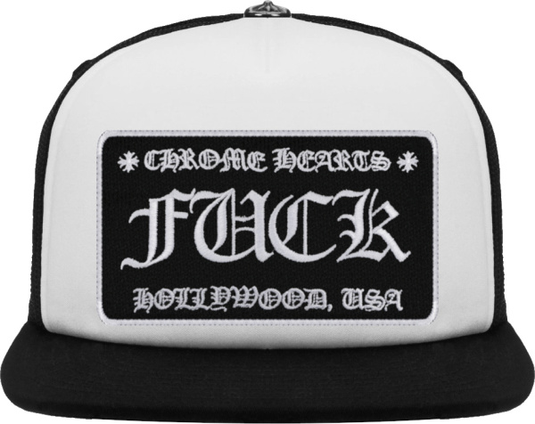 Chrome Hearts White And Black Fuck Hollywood And Logo Trucker Hat