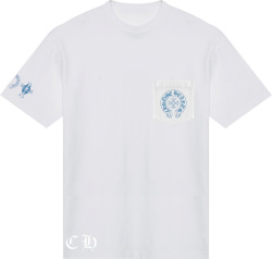 Chrome Hearts White And Light Blue Short Sleeve Pocket Logo T Shirt