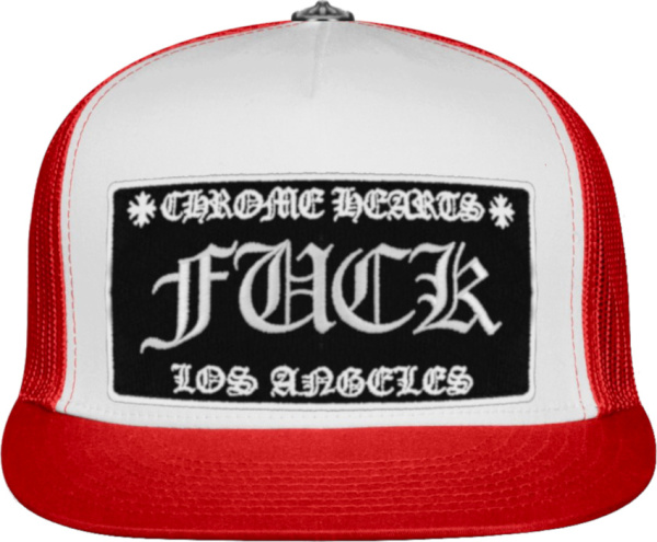Chrome Hearts White And Red Fuck Trucker Hat.jpg