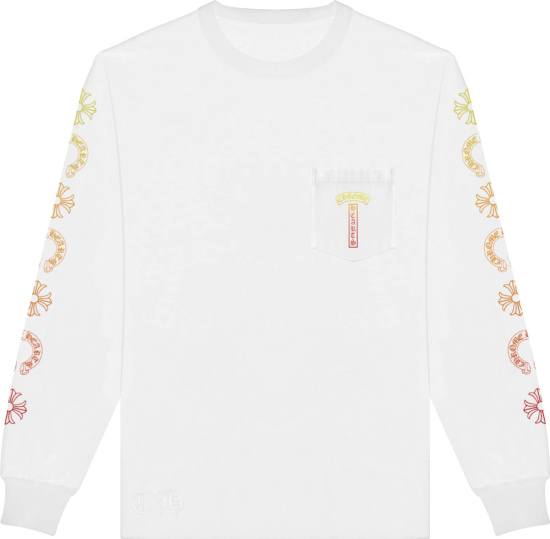 Chrome Hearts White And Sunset Gradient Long Sleeve T Shirt