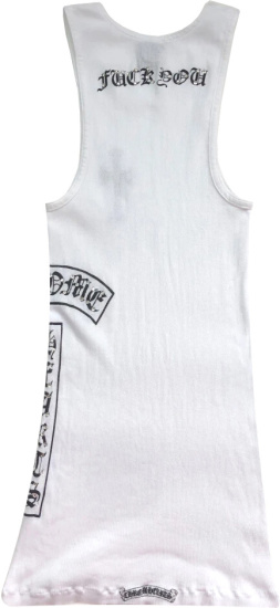 Chrome Hearts White Crystal Fuck You Tank Top
