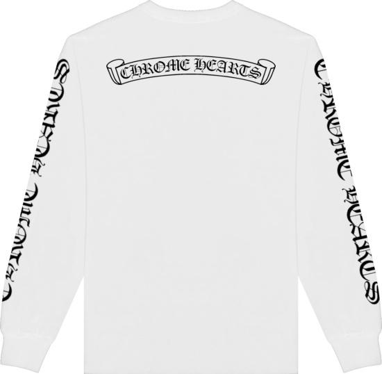 Chrome Hearts White Long Sleeve Script Logo Print T Shirt