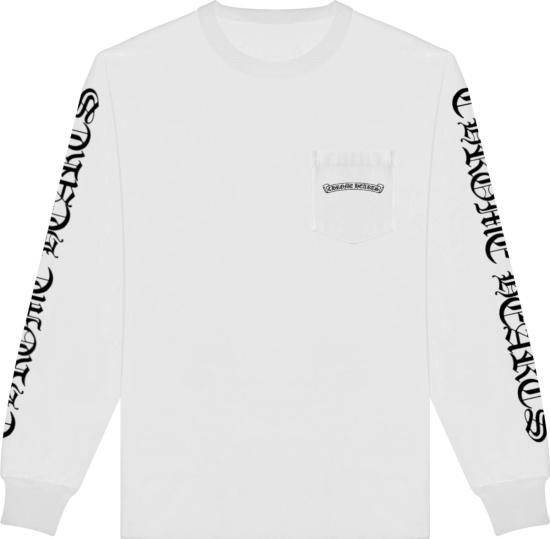 Chrome Hearts White Long Sleeve Sleeve Logo T Shirt