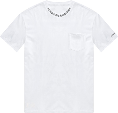 Chrome Hearts White Pocket T Shirt With Collar Logo Print