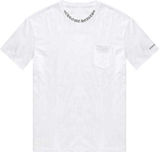 Chrome Hearts White Pocket T Shirt With Collar Logo Print