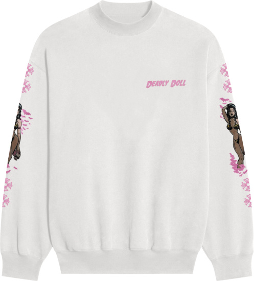 Chrome Hearts X Deadly Doll White Pin Up Sweatshirt