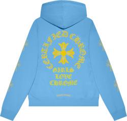 Chrome Hearts X Drake Light Blue And Yellow Logo Hoodie