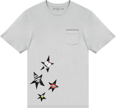 Chrome Hearts X Matty Boy Grey Star Print T Shirt