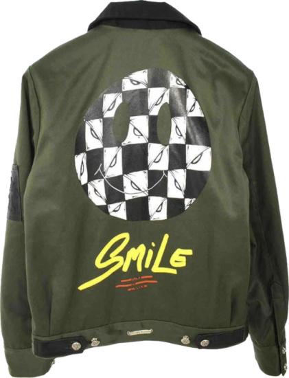 Chrome Hearts X Matty Boy Olive Green Smile Bomber Jacket
