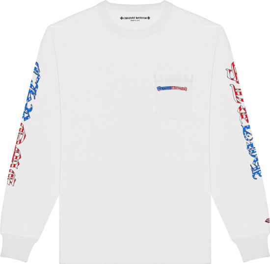 Chrome Hearts X Matty Boy White America Flag Logo Long Sleeve T Shirt