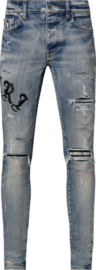 Clay Indigo Old English Logo Patch Jeans