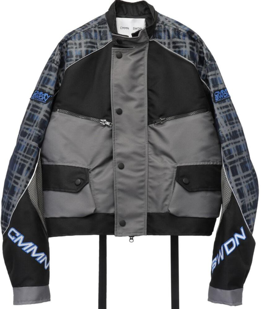 Cmmn Swdn Blue And Grey Plaid Motorcross Jacket