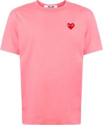 Comme Des Garcons Pink Heart Logo T Shirt