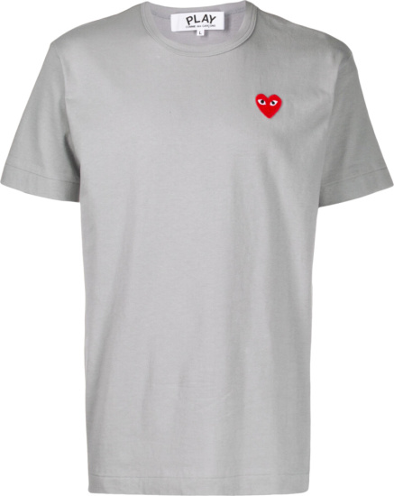 Comme Des Garcons Red Logo Embroidred Solid Grey T Shirt