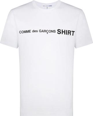 Comme Des Garcons Shirt White Black Logo Print T Shirt