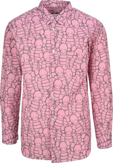 Comme Des Garcons X Kaws Pink Allover Logo Print Shirt