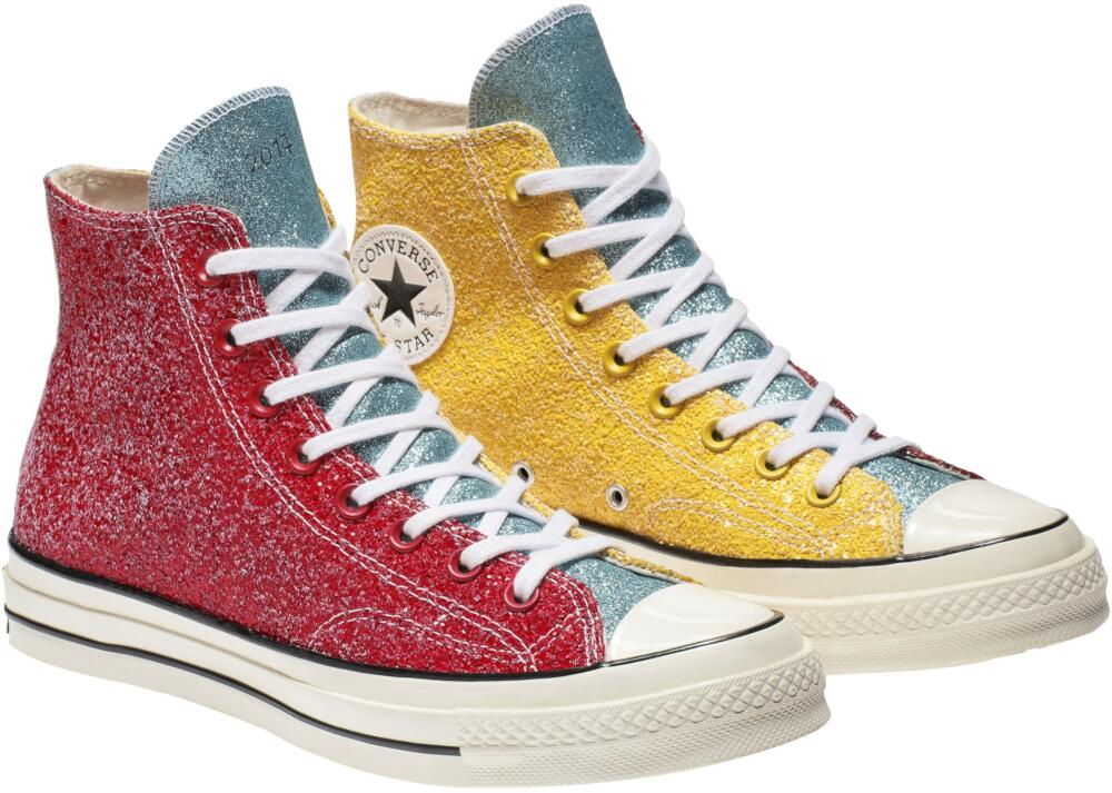 Converse X Jw Anderson Yellow Blue And Red Glitter Sneakers