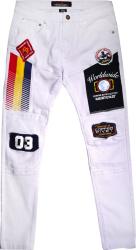 Copper Rivet Allover Patch & Flag Print Jeans