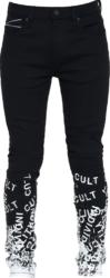 'Cult' Print Black Jeans