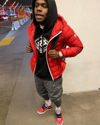 Dababy In La Wearing A Moncler Puffer Burberry Hoodie Nike Joggers And Jordans