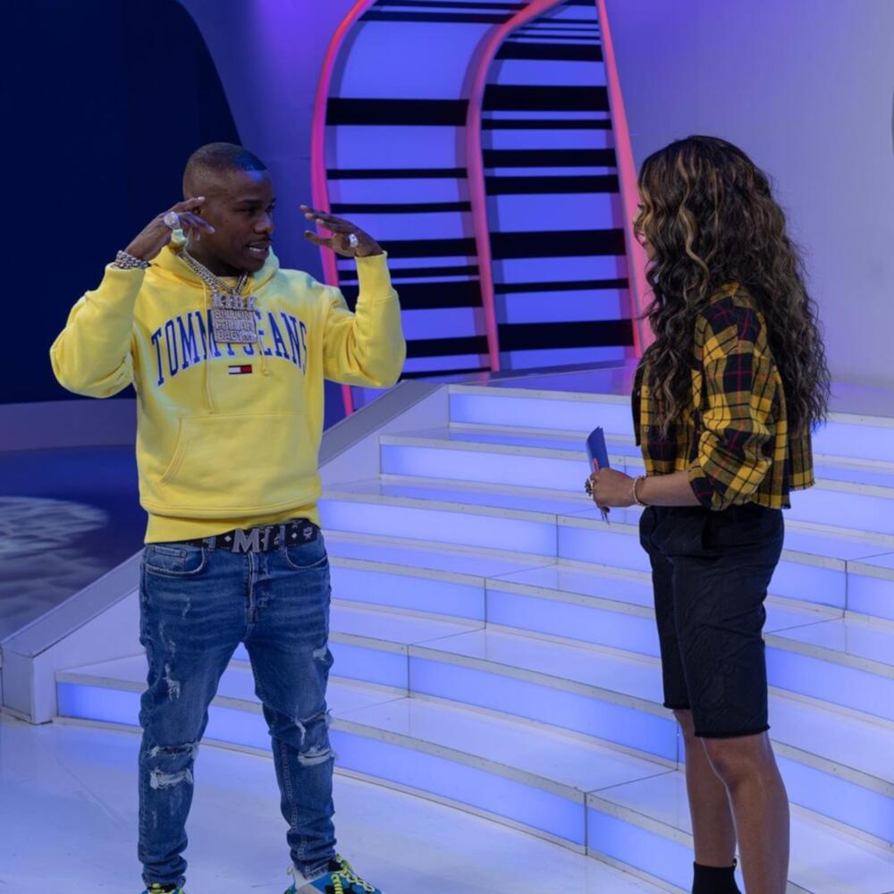 Dababy On Mtv In A Yellow Tommy Hoodie Mcm Belt And Balenciaga Sneakers