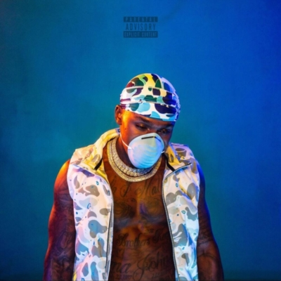 Dababy Wearing A Bape Blue Camo On Blame It On Baby Album Cover
