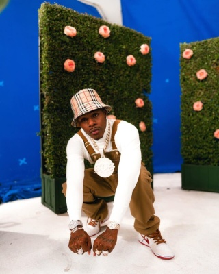 Dababy Wearing A Burberry Bucket Hat With Dickies Overalls And White Red Brown Nike Air Force 1s