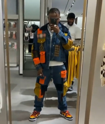 Dababy Wearing A Dolce Gabbana Denim Cargo Jacket And Jeans With Nike X Off White Sneakers