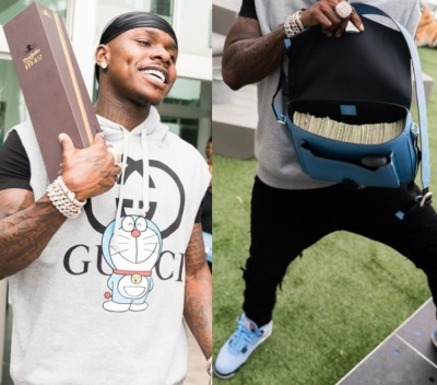 Dababy Wearing A Gucci X Doraemon Louis Vuitton And Jordan Outfit