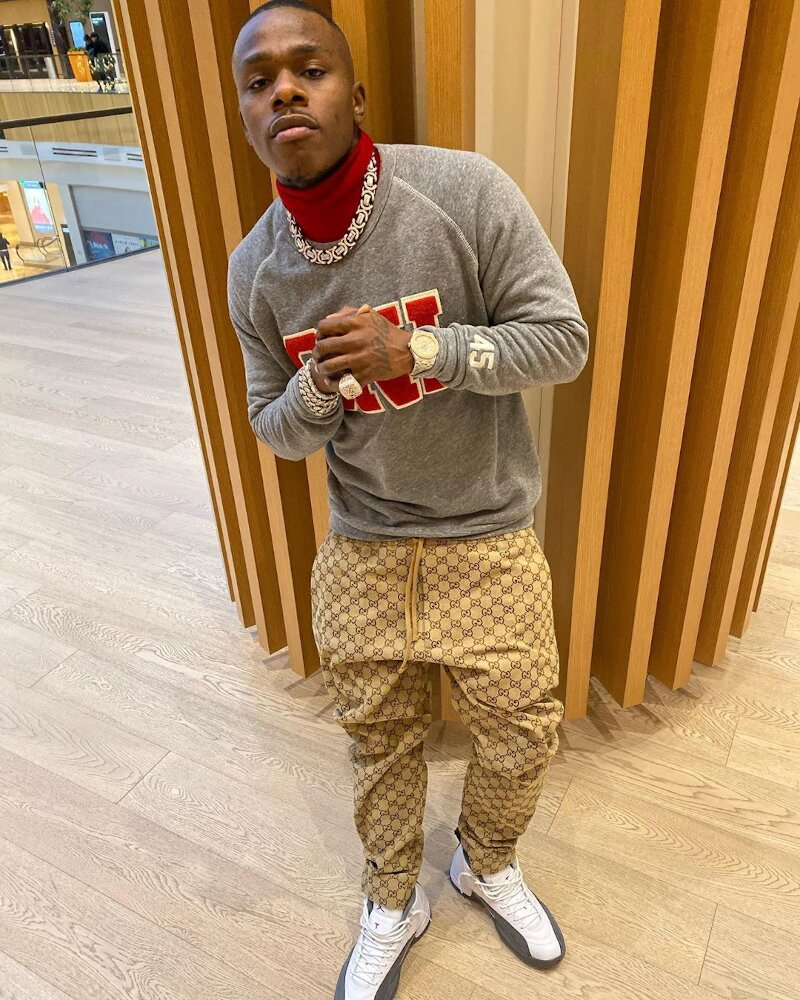 Dababy Wearing A Snl Sweatshirt With Gucci Pants And Jordans
