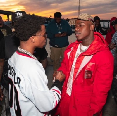 Dababy With Roddy Ricch In A Red Nike Jacket And Gucci Hat