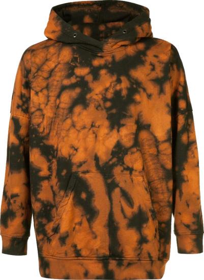 Daniel Patrick Orange And Black Tie Dye Acid Hoodie