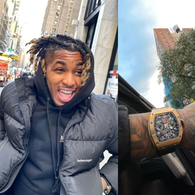 Ddg Wearing A Balenciaga Black Puffer Jacket And Political Campaign Hoodie With A Richard Mille Watch