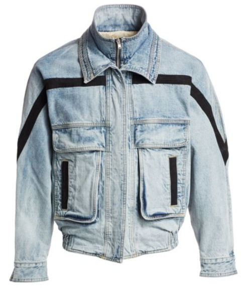 Denim Jacket With Black Horizontal Cross Stripe Worn By Big Krit In Energy Music Video