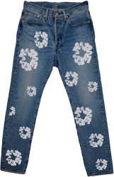 Denim Tears Blue Indigo And White Cotton Flower Circle Jeans