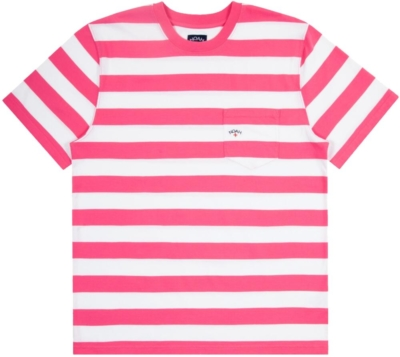 Designer Mens Pink And White Striped T Shrit Mad By Noah