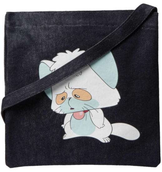 Undercover Cartoon Cat Print Denim Tote Incorporated Style