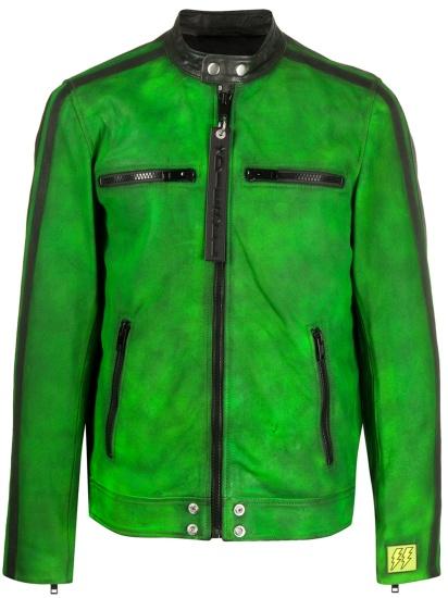 Diesel Green Leather Moto Jacket