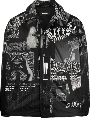 Diesel Black White Abstract J Akiprint Jacket