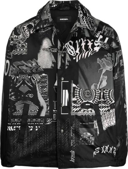Diesel Black White Abstract J Akiprint Jacket