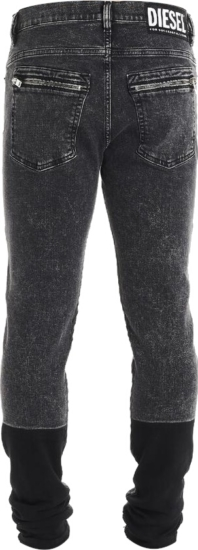 Diesel Contrast Patch Distressed Black Jeans