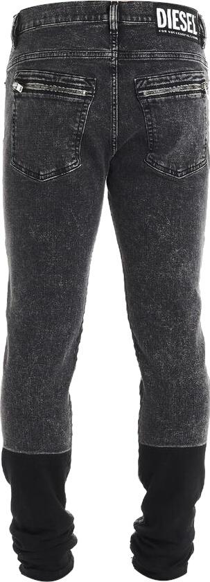 Contrast Panel Distressed Black Jeans