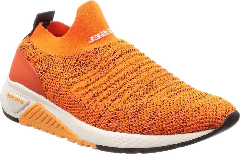 Diesel Orange Knit Sneakers