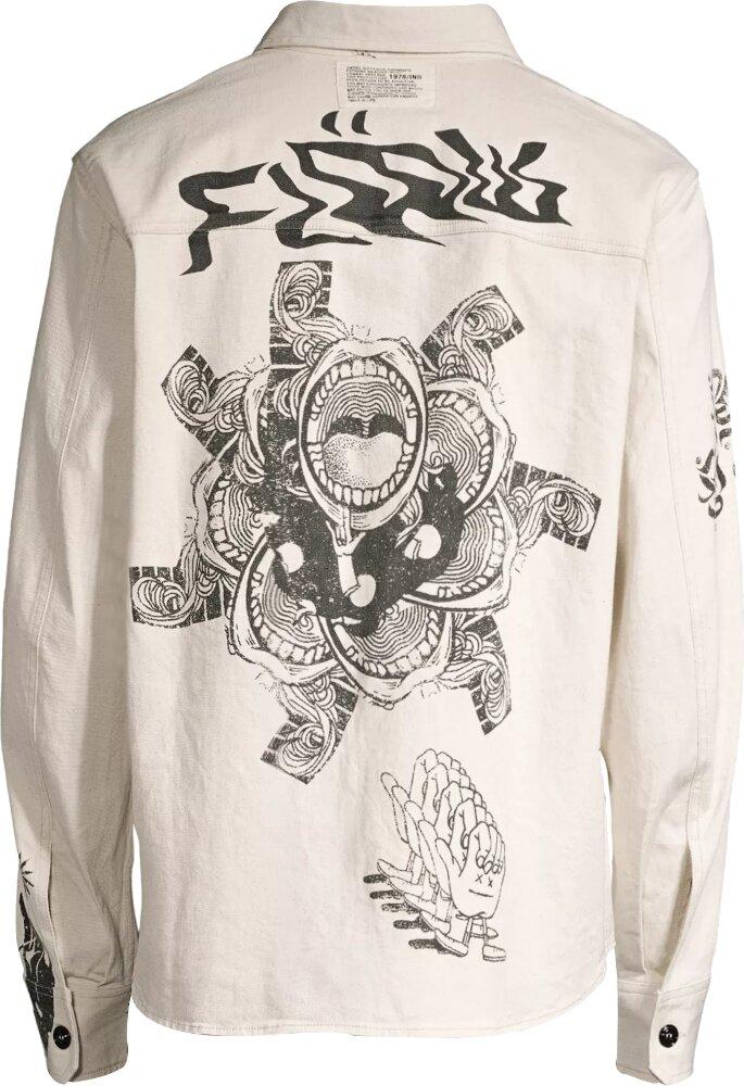 Snake Print White Denim Shirt