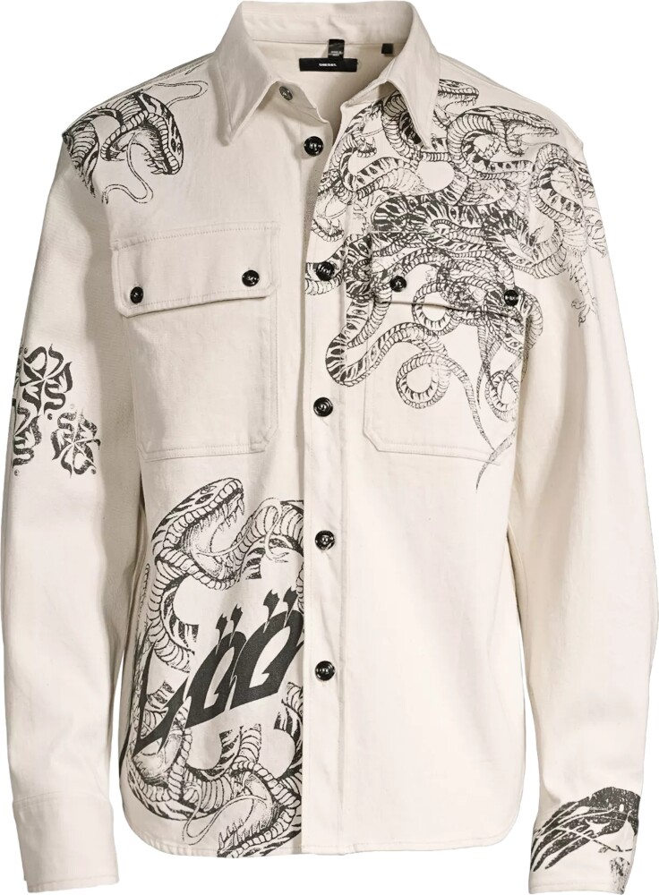 Diesel Snake Print White Denim Shirt
